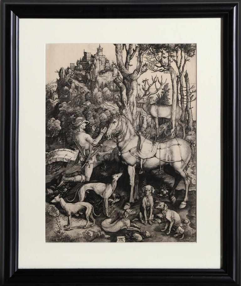 Charles Amand Durand Figurative Print - Saint Hubert etching by Amand-Durand after Albrecht Durer