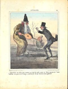 Actualités, Hiver - Original Lithograph by Cham - 1882