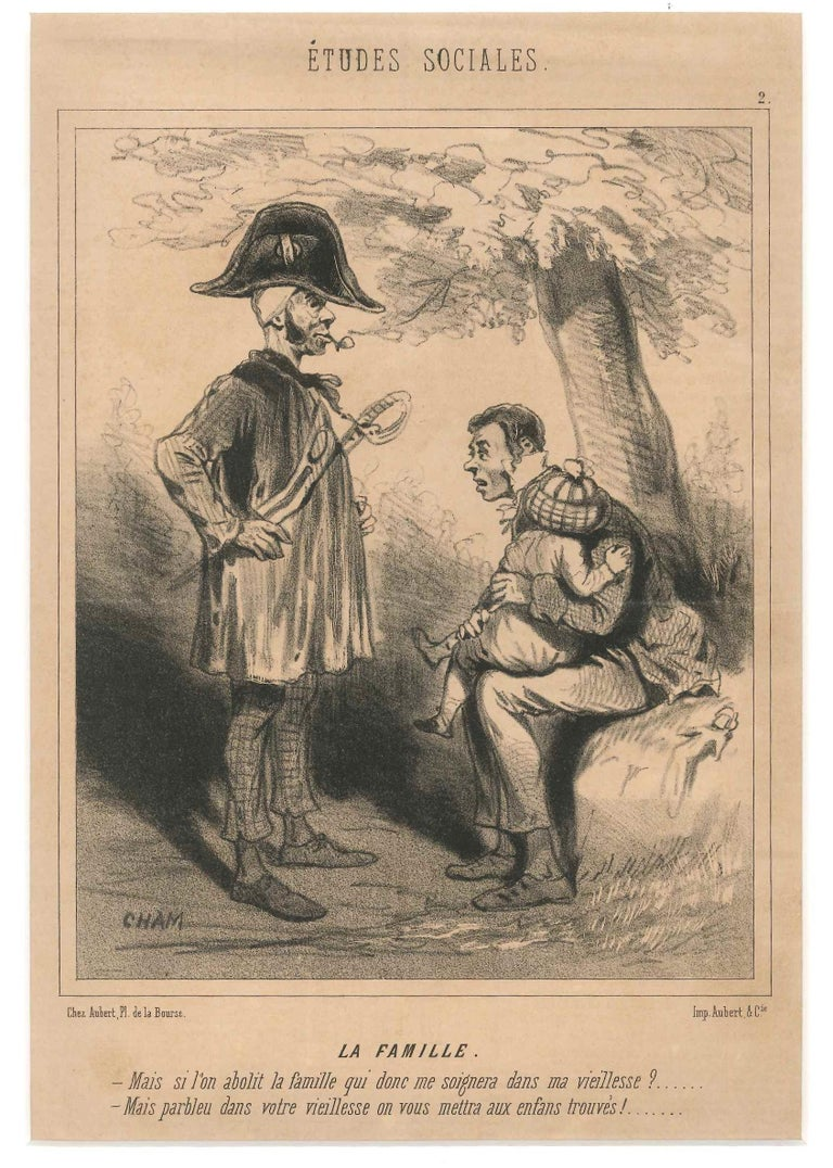 Charles Amedee de Noe (CHAM) Figurative Print - Études Sociales - Original Lithograph by Cham - First Half of 1800
