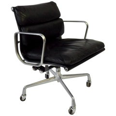Charles and Ray Eame for Herman Miller Black Leather Soft Pad Swivel Tilt Chair