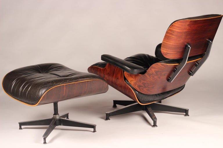 American Charles and Ray Eames 670 Rosewood Lounge Chair and 671 Ottoman