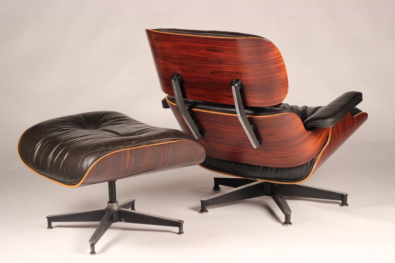 Late 20th Century Charles and Ray Eames 670 Rosewood Lounge Chair and 671 Ottoman