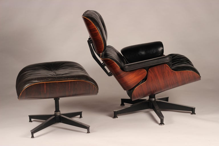 Leather Charles and Ray Eames 670 Rosewood Lounge Chair and 671 Ottoman