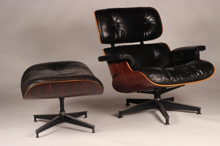 Charles and Ray Eames 670 Rosewood Lounge Chair and 671 Ottoman 1