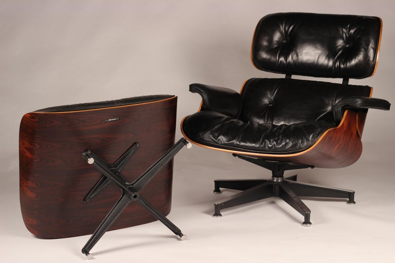 Charles and Ray Eames 670 Rosewood Lounge Chair and 671 Ottoman 2