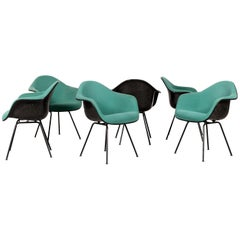 Charles and Ray Eames Black DAX Dining Chairs with Green Fabric by Vitra