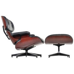 Charles and Ray Eames Cherry and Leather 670 Lounge Chair and 671 Ottoman