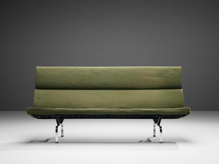 Mid-Century Modern Charles and Ray Eames 'Compact' Sofa in Green Upholstery For Sale