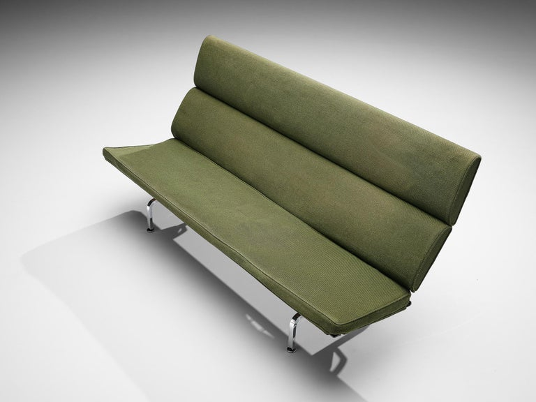 Charles and Ray Eames 'Compact' Sofa in Green Upholstery For Sale 1