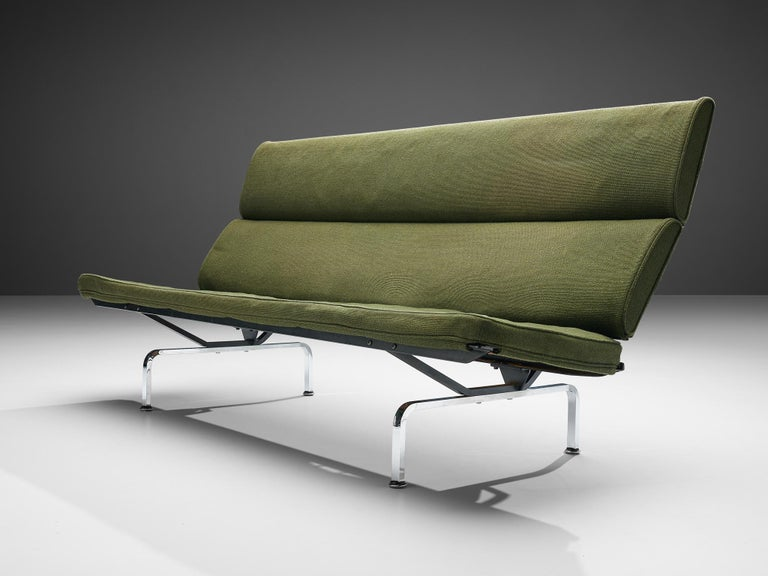 Charles and Ray Eames 'Compact' Sofa in Green Upholstery For Sale 2