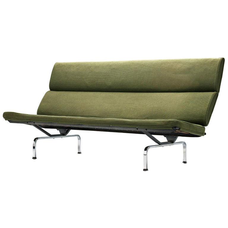 Charles and Ray Eames 'Compact' Sofa in Green Upholstery For Sale