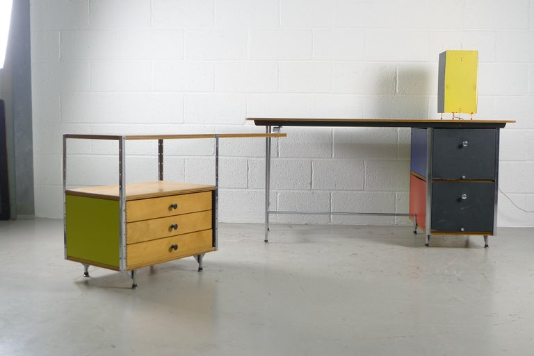 Plywood Charles and Ray Eames Esu Desk and Return, Second Series, circa 1955 For Sale