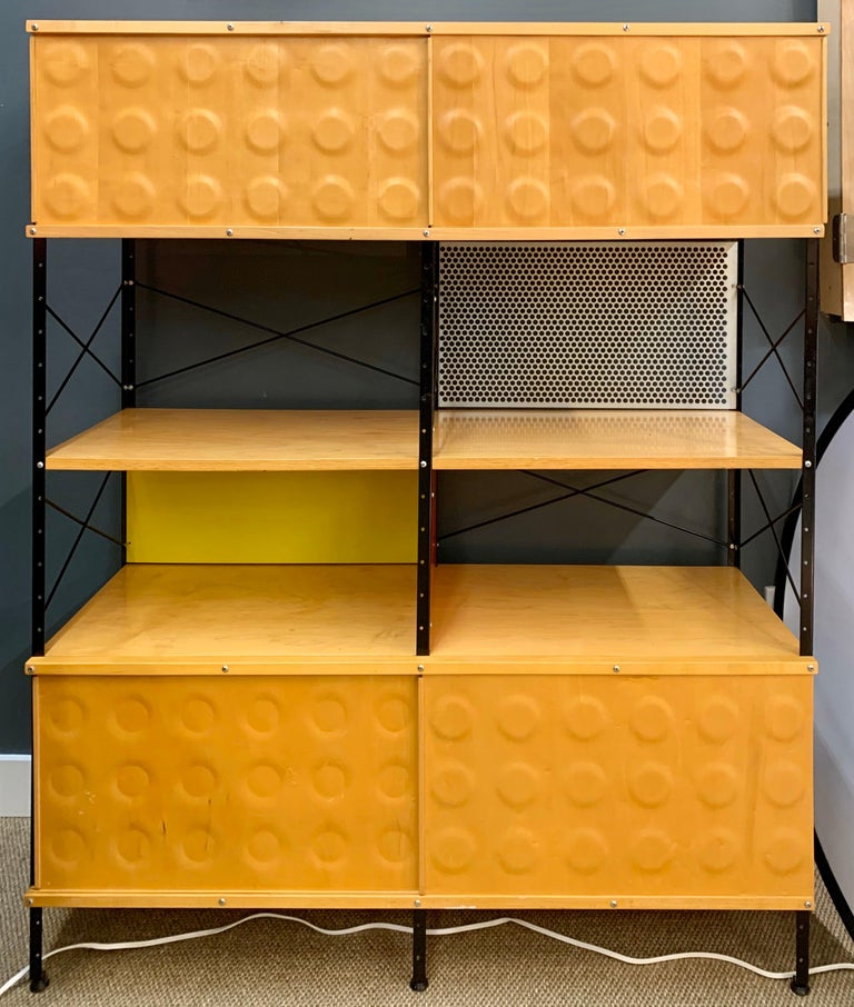 Mid-Century Modern Charles and Ray Eames ESU Storage Unit Shelving Library Étagère Room Divider For Sale