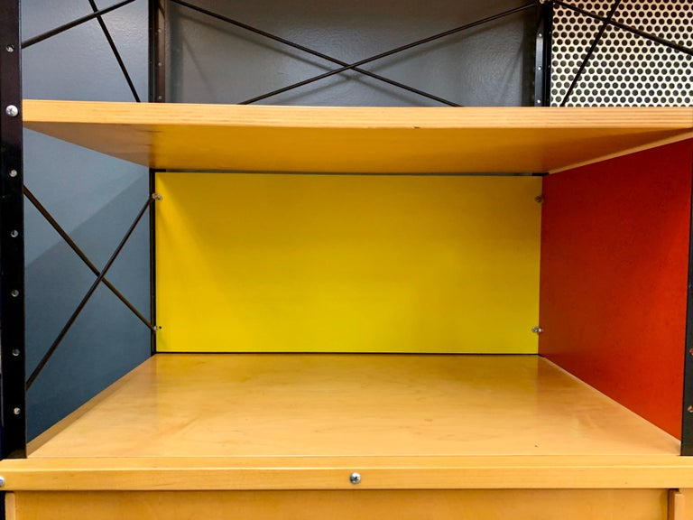 Metal Charles and Ray Eames ESU Storage Unit Shelving Library Étagère Room Divider For Sale