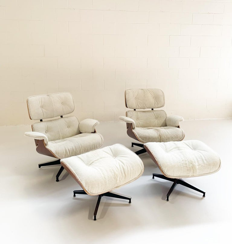 Charles and Ray Eames for Herman Miller 670 Lounge Chairs and 671 Ottomans Restored in Brazilian Cowhide