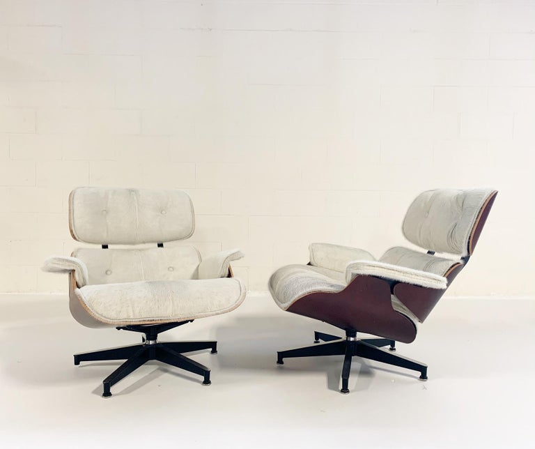 American Charles and Ray Eames for Herman Miller Chairs and Ottomans Restored in Cowhide For Sale