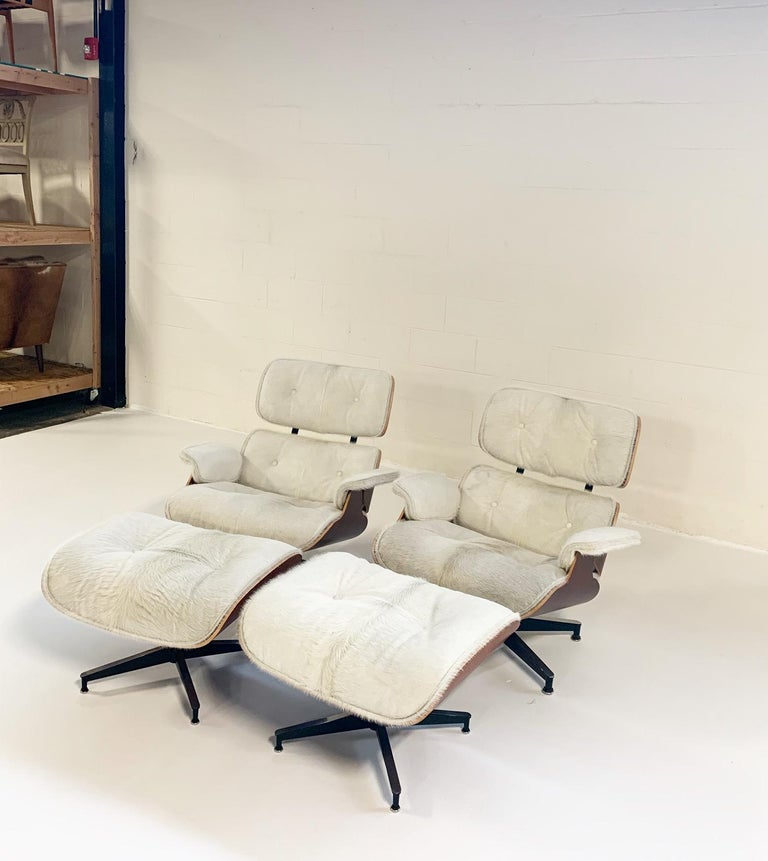 Charles and Ray Eames for Herman Miller Chairs and Ottomans Restored in Cowhide For Sale 2