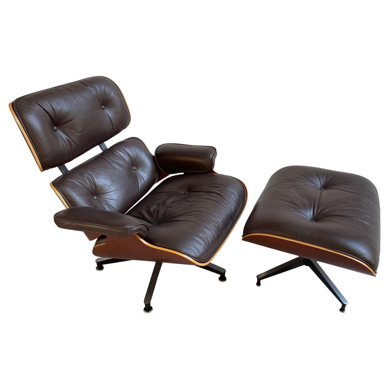 Charles and Ray Eames for Herman Miller Cherry 670 Lounge Chair and Ottoman For Sale