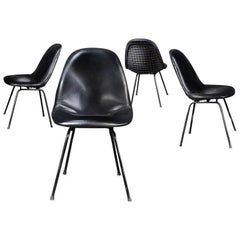 Charles and Ray Eames for Herman Miller DKX-1 Chair, Black Leather, H-Base, 1955