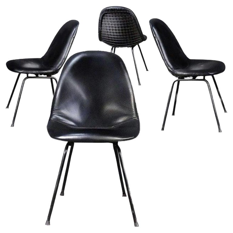 Charles and Ray Eames for Herman Miller DKX-1 Chair, Black Leather, H-Base, 1955 For Sale
