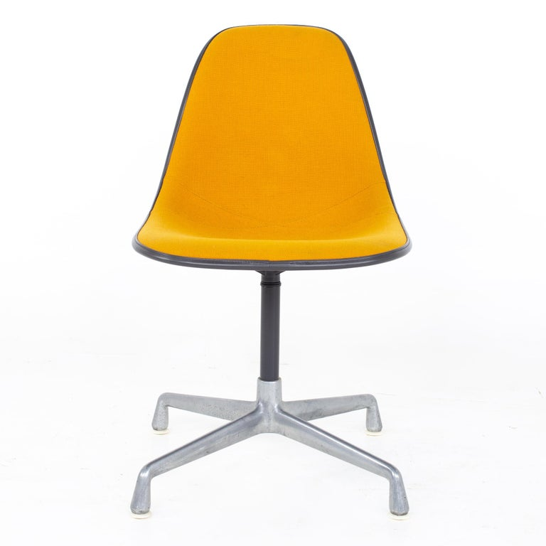 Mid-Century Modern Charles and Ray Eames for Herman Miller Mid Century Orange Upholstered Shell Cha For Sale