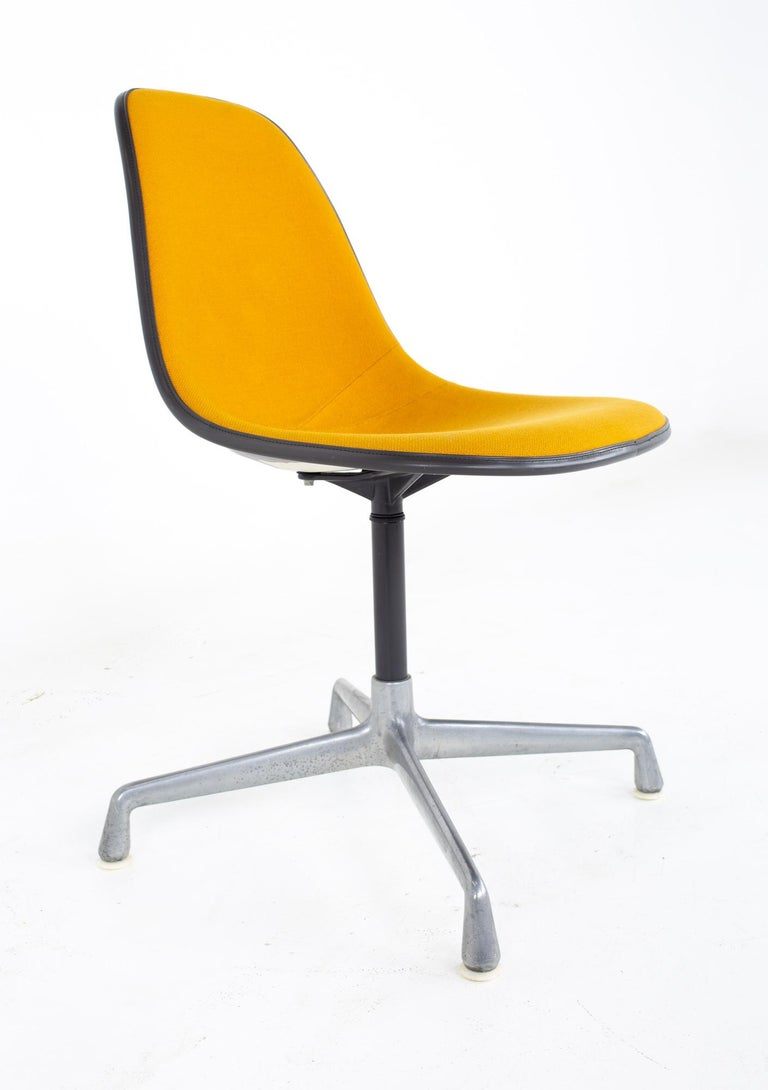American Charles and Ray Eames for Herman Miller Mid Century Orange Upholstered Shell Cha For Sale