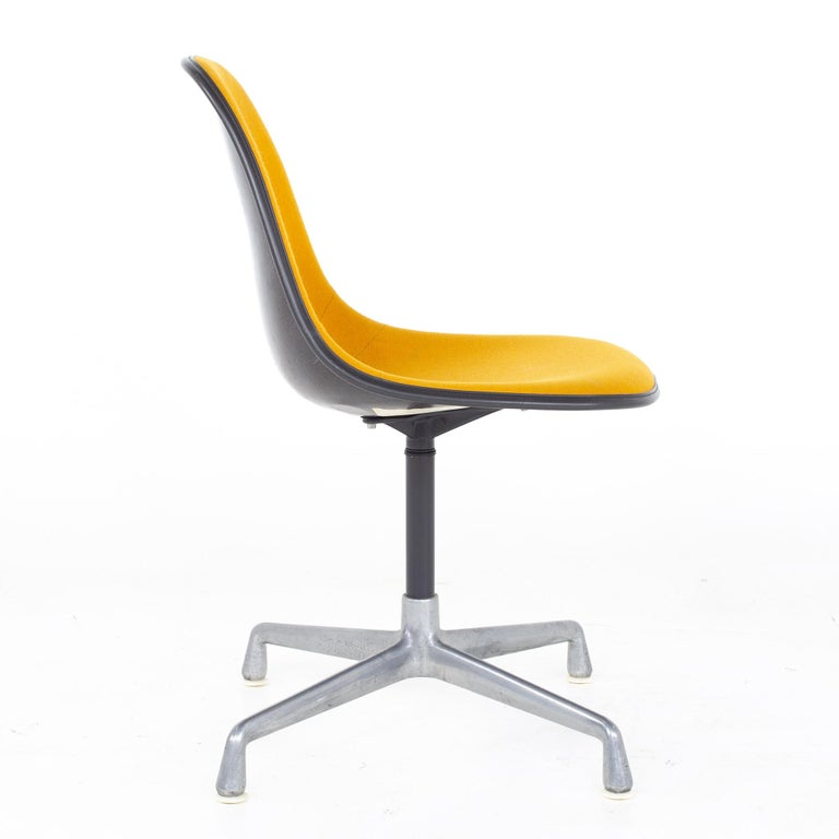 Metal Charles and Ray Eames for Herman Miller Mid Century Orange Upholstered Shell Cha For Sale