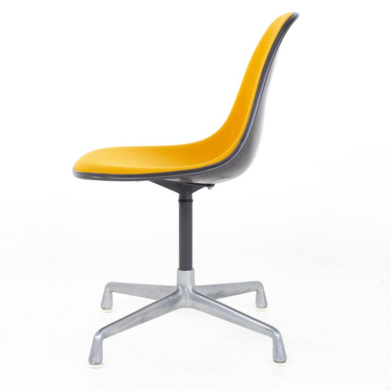 Charles and Ray Eames for Herman Miller Mid Century Orange Upholstered Shell Cha For Sale 1