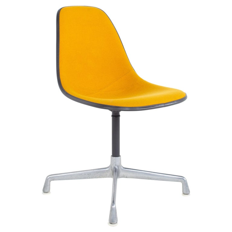 Charles and Ray Eames for Herman Miller Mid Century Orange Upholstered Shell Cha For Sale