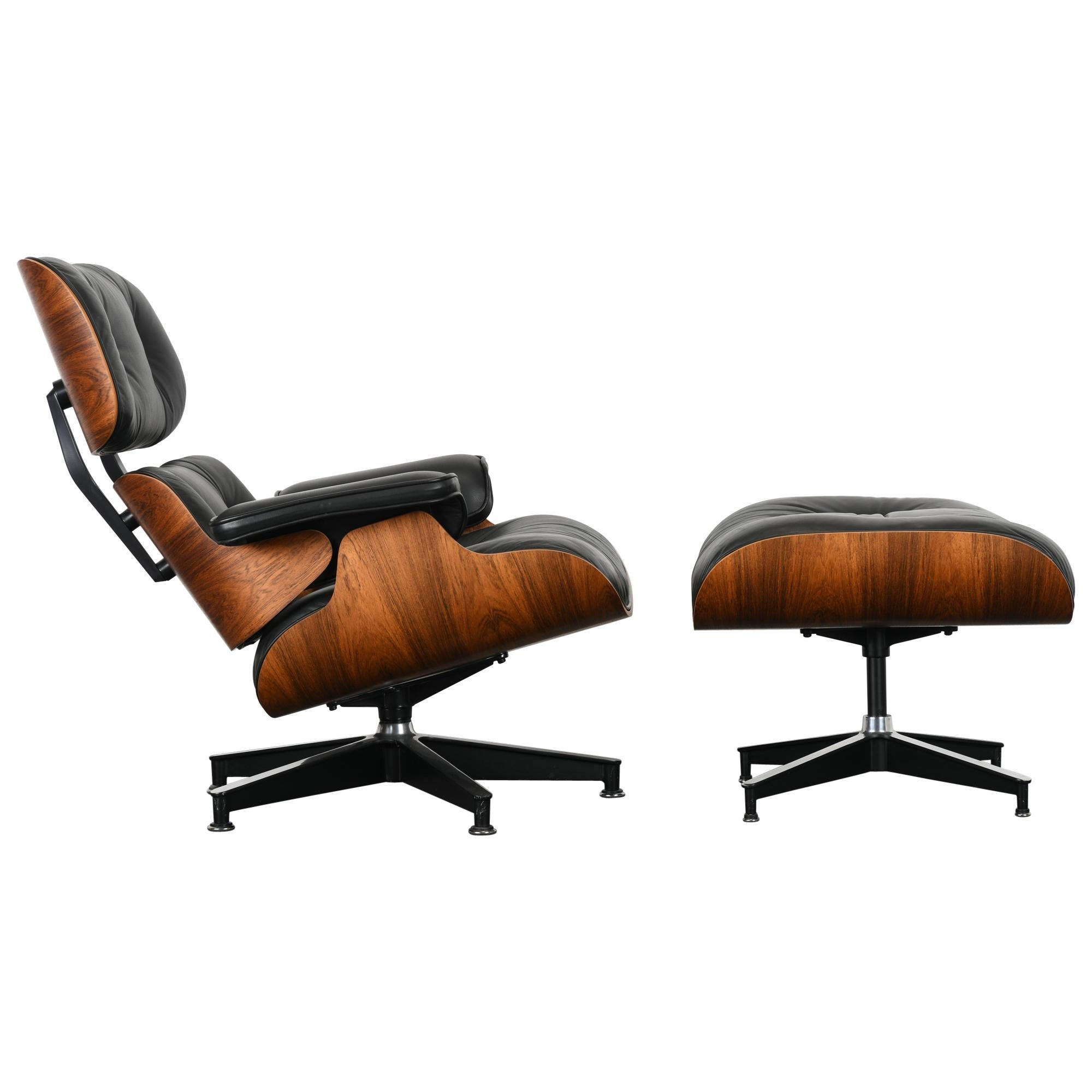 Charles and Ray Eames Lounge Chair and Ottoman, 1971-1974