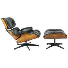 Charles and Ray Eames, Lounge Chair and Ottoman Matching Vintage Set, Vitra 1968