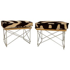 Charles and Ray Eames Ltr Tables with Zebra Cushions, Pair