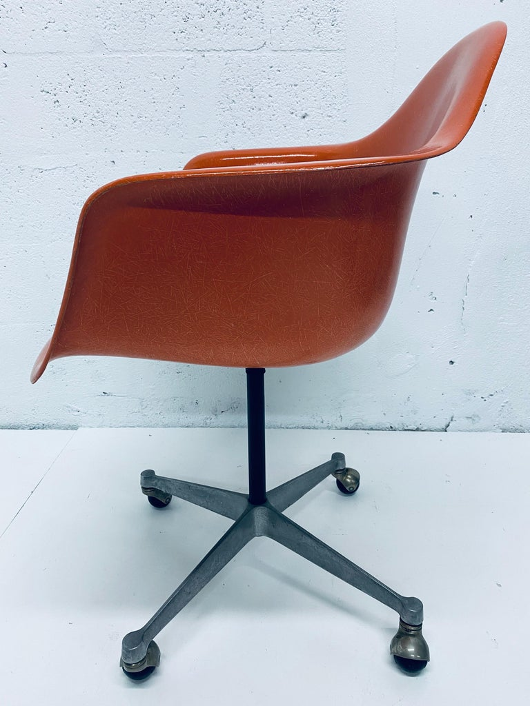 American Charles and Ray Eames PSC Orange Fiberglass Office Desk Chair for Herman Miller For Sale