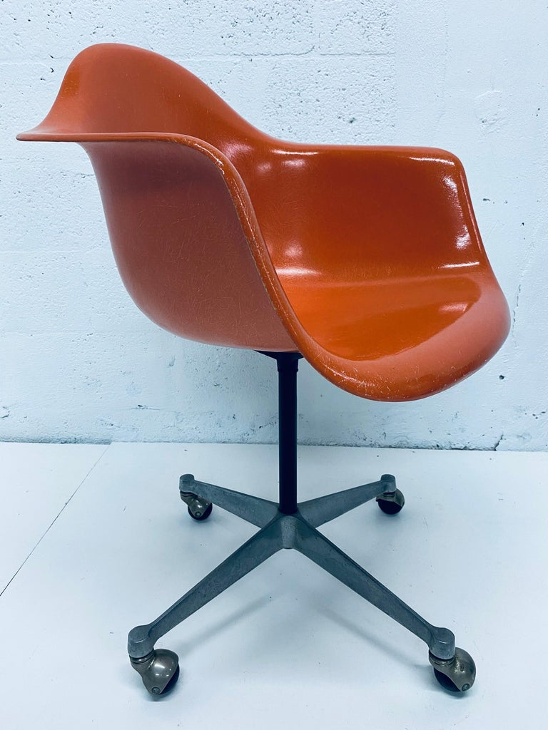 Aluminum Charles and Ray Eames PSC Orange Fiberglass Office Desk Chair for Herman Miller For Sale