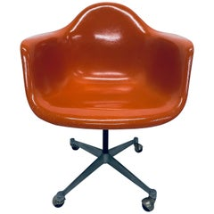 Charles and Ray Eames PSC Orange Fiberglass Office Desk Chair for Herman Miller
