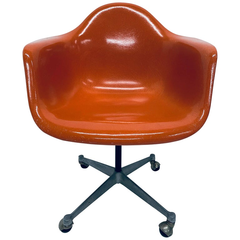 Charles and Ray Eames PSC Orange Fiberglass Office Desk Chair for Herman Miller For Sale