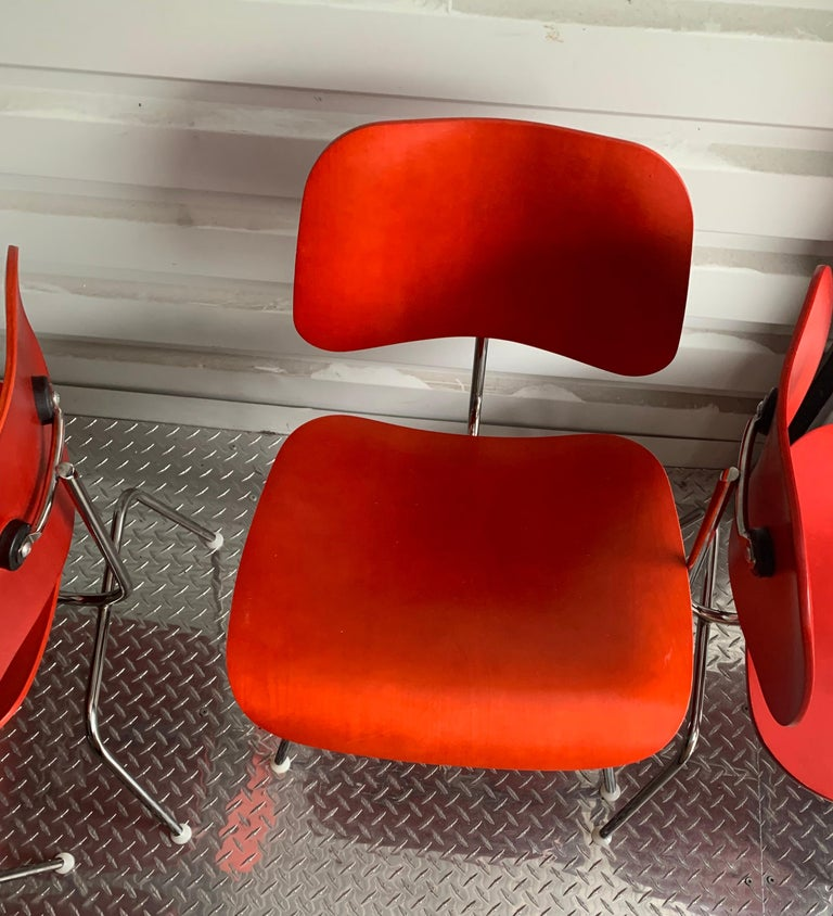20th Century Charles and Ray Eames Red Beech DCM Chair, Herman Miller, Dining, Side Chair For Sale