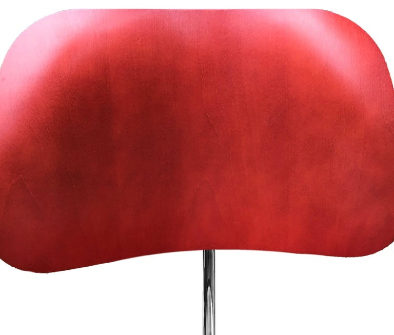 Stainless Steel Charles and Ray Eames Red Beech DCM Chair, Herman Miller, Dining, Side Chair For Sale