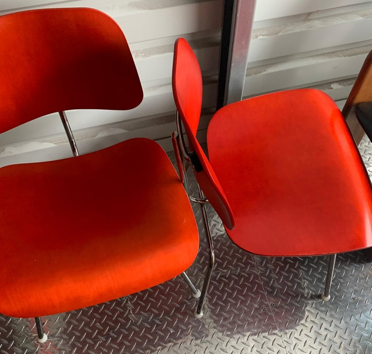American Charles and Ray Eames Red Beech DCM Chair, Herman Miller, Dining, Side Chair For Sale