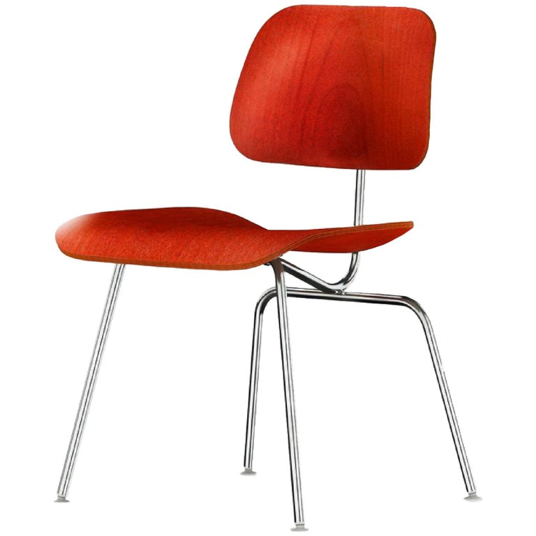 Charles and Ray Eames Red Beech DCM Chair, Herman Miller, Dining, Side Chair For Sale