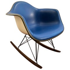 Charles and Ray Eames Rocking Chair Blue Moleskin and White Fiberglass