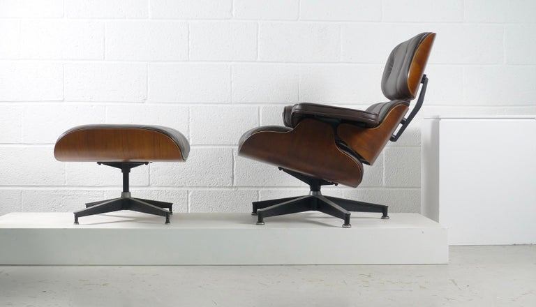 Charles and Ray Eames, Rosewood Lounge Chair and Ottoman, Herman Miller, USA In Good Condition In Wargrave, Berkshire