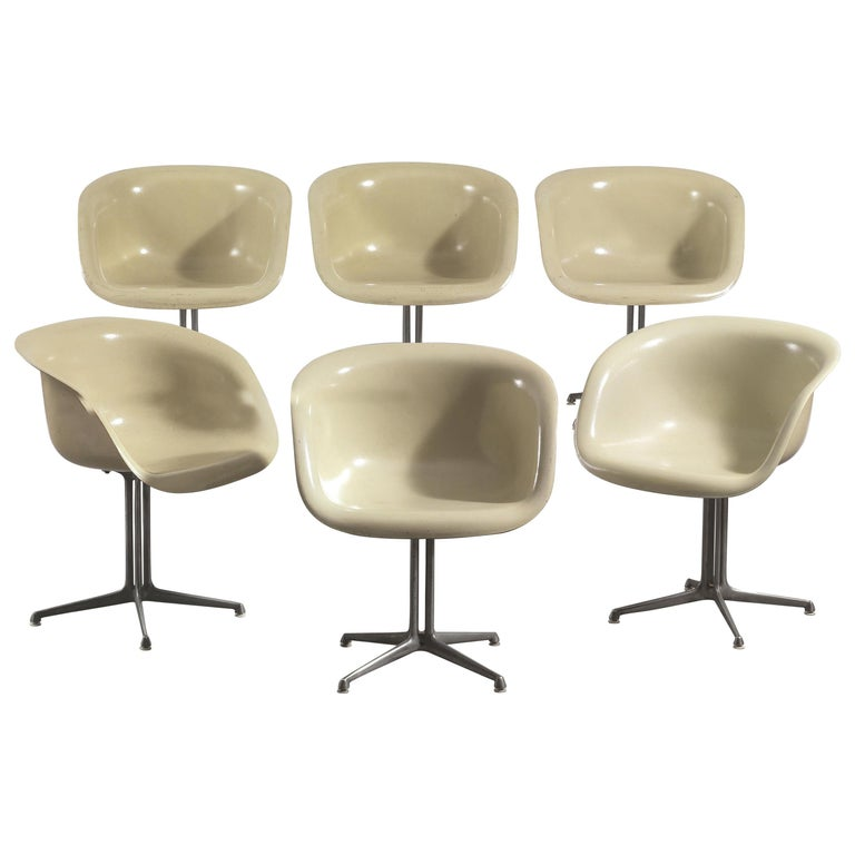Charles and Ray Eames Set of Six Armchairs La Fonda Herman Miller, 1960 For Sale