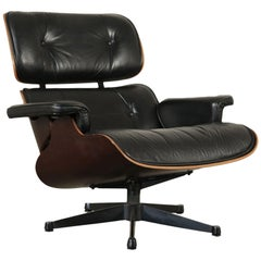 Charles and Ray Eames Swivel Armchair Wood Aluminum Leather, 1960s-1970s