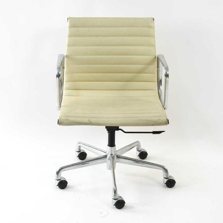 Mid-Century Modern Charles and Ray Eames White Leather Executive Armchairs, Sold Singly For Sale