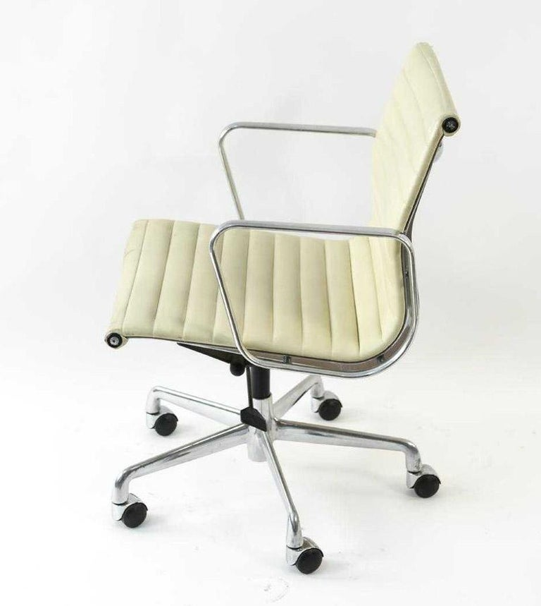 American Charles and Ray Eames White Leather Executive Armchairs, Sold Singly For Sale