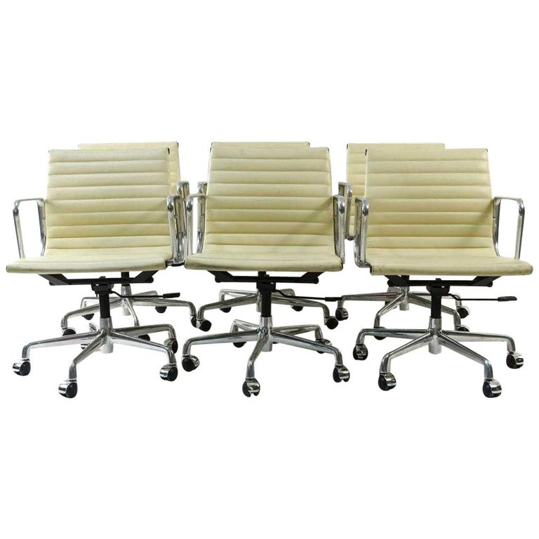 Charles and Ray Eames White Leather Executive Armchairs, Sold Singly For Sale