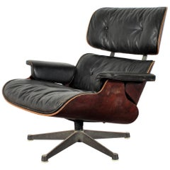 Charles and Ray Eames Wood Lounge Chair and Black Leather, 1960s