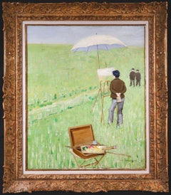 Painting outdoors - Impressionist Oil, Figures in Landscape by Charles Angrand