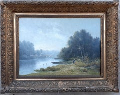 Barbizon landscape French 19th Century painting mist on the river in spring